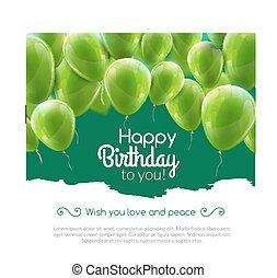 vettore, buon compleanno, scheda, con, verde, palloni, festa, invitation.