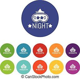 vettore, buono, icone, colorare, set, notte