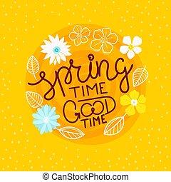 vettore, buono, iscrizione, concetto, tempo, primavera, ...