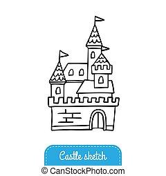 vettore, buono, magia, bandiera, scheda, indie, scarabocchiare, flyer., gioco, augurio, adesivo, o, racconto, castello, kingdom., nero, invito, bianco, fata, logotipo, illustration.