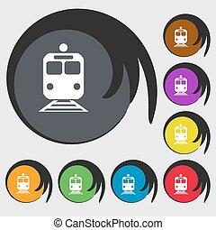 vettore, buttons., colorato, segno., treno, otto, simbolo, icona