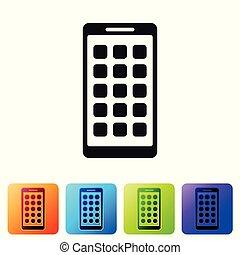 vettore, buttons., smartphone, set, telefono, colorare, icone, esposizione, apps, isolato, illustrazione, screen., grigio, fondo., quadrato, applications., mobile, schermo bianco, icona