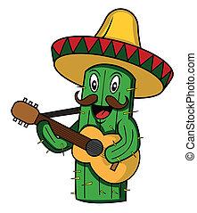 vettore, cactus, cartone animato, messico