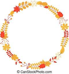 vettore, cadere, ghirlanda, con, foglie, e, ramoscelli, in, giallo, e, rosso, colori, per, autunno, progetta, cartoline auguri, e, scrapbooking