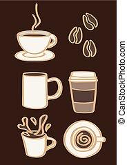 vettore, caffè, bevande, fagioli, illustrazione