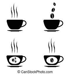 vettore, caffè nero, icone, set