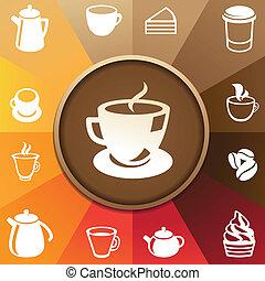 vettore, caffè tè, icone concetto
