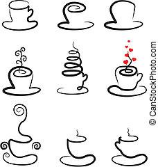 vettore, caffè tè, set, campanelle