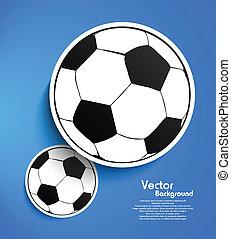 vettore, calcio, etichetta carta, palla