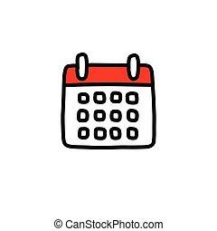 vettore, calendario, illustrazione, colorare, linea, scarabocchiare, icona