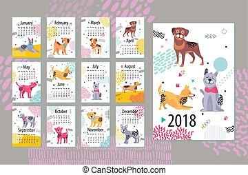 vettore, calendario, mesi, cani, illustrazione
