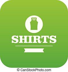vettore, camicia verde, icona