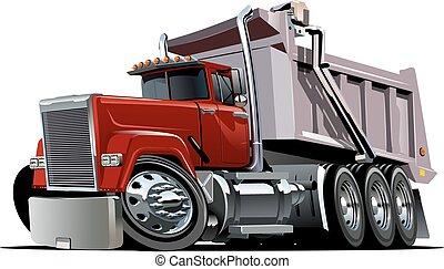 vettore, camion, cartone animato, discarica