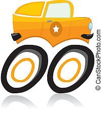 vettore, camion, cartone animato, mostro