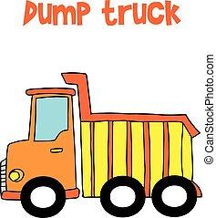 vettore, camion, giallo, discarica, cartone animato