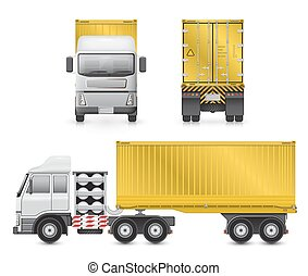vettore, camion, roulotte