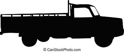 vettore, camion, silhouette
