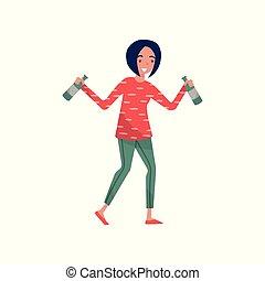 vettore, camminare, brunetta, bottiglie, lei, ubriaco, carattere, alcolico, giovane, illustrazione, cartone animato, bianco, donna, fondo, mani, ragazza sorridente, bevanda