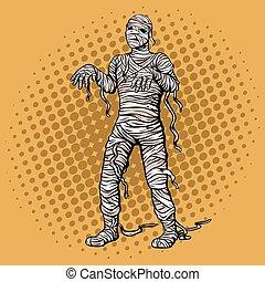 vettore, camminare, stile, pop, illustrazione, arte, mummia