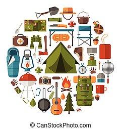 vettore, campeggio, andando gita, icone
