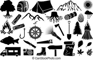 vettore, campeggio, illustrazione, icone
