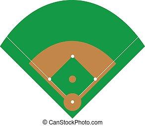 vettore, campo baseball