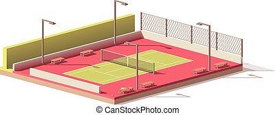 vettore, campo da tennis, basso, poly
