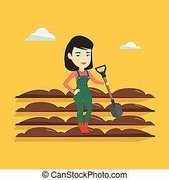 vettore, campo, pala, illustration., contadino
