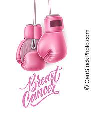 vettore, cancro, consapevolezza, rosa, scatola, guanto