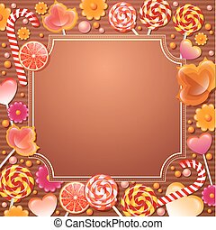 vettore, candys, cornice, sweets., illustration.