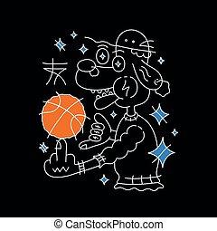 vettore, cane, cappello, pallacanestro, ball.
