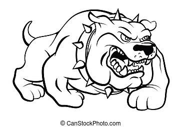 vettore, cane, illustrazione, toro