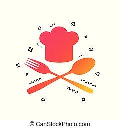 vettore, cappello, chef, cottura, icon., segno, simbolo.