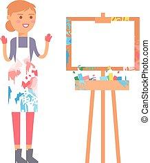 vettore, carattere, artista, persone, creativo