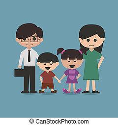 vettore, carattere, cartone animato, famiglia, felice