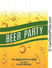 vettore, card., illustrazione, birra, aviatore, festa, gocce