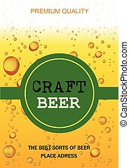 vettore, card., mestiere, illustrazione, birra, aviatore, festa, gocce