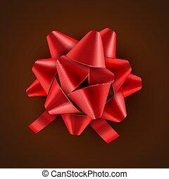 vettore, card., regalo, festivo, isolated., illustrazione, arco, decorazione, compleanno, nastro, vacanza, rosso, celebrazione