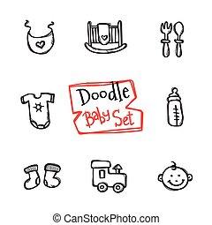 vettore, carino, bambini, icone, scarabocchiare, set., collezione, mano, oggetti, bambino, disegnato