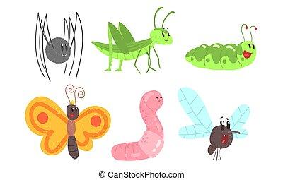 vettore, carino, cartone animato, illustrations., insects., set