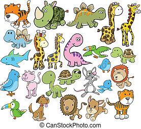 vettore, carino, elementi, disegno, animale