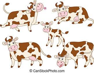 vettore, carino, mucche, set, cartone animato