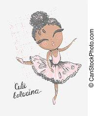 vettore, carino, poco, bambini, grafico, uso, superficie, bambini, moda, nero, indossare, disegno, clothing., ballerina., stampa