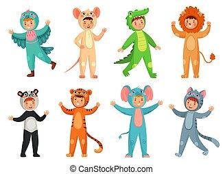 vettore, carino, poco, bambini, ragazzo, costumes., completo, illustrazione, cartone animato, costume, set, animale, elefante, bambino, ragazza festa, panda, mascotte