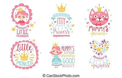 vettore, carino, princess., illustration., auguri, mamma, poco, set