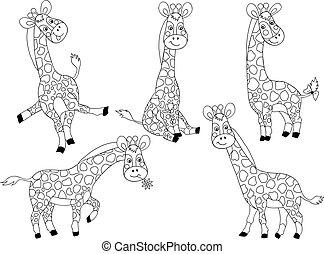 vettore, carino, set, cartone animato, giraffe