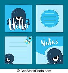 vettore, carino, set, cartone animato, nota, quadrato, cartelle, mostri