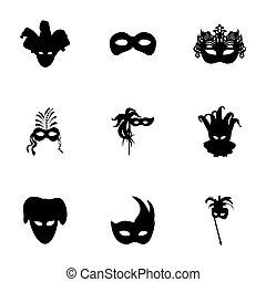 vettore, carnevale, icone, set