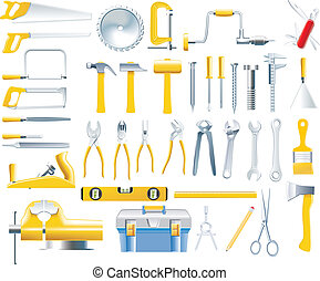 vettore, carpentiere, attrezzi, icona, set