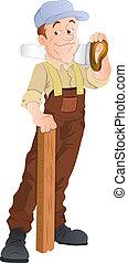 vettore, carpentiere, illustrazione